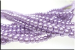 4mm Glass Pearl Round Bead Strand, LIGHT LAVENDER PURPLE