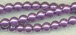 4mm Glass Pearl Round Bead Strand, LAVENDER PURPLE