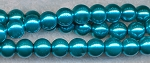 4mm Glass Pearl Round Bead Strand, TEAL BLUE
