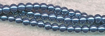 4mm Glass Pearl Round Bead Strand, BLUE PEWTER