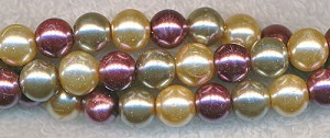 6mm Glass Pearl Round Bead Strand, CHAMPAGNE PLUM MIX