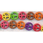 Peace Beads, 15mm Magnesite Gemstone Peace Sign Beads Multicolor Mixed Strand