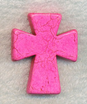 Pink Stone Cross Pendant, 50x40mm