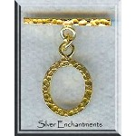 Vermeil Oval Hammered Toggle Clasp, 22k over Sterling Silver Jewelry Clasps (1)