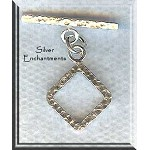 Sterling Silver Diamond Toggle Clasp, Hammered Precious Metal Jewelry Clasps (1)