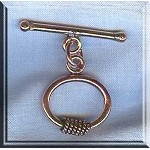 Solid Copper Oval Toggle Clasp with Wrap Detail, Real Copper Clasps (1)