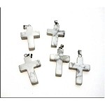 Howlite Cross Pendants, Natural White Howlite Bailed Cross Pendants (1)