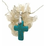 Turquoise Cross Pendant, Bailed Gemstone Cross Jewelry
